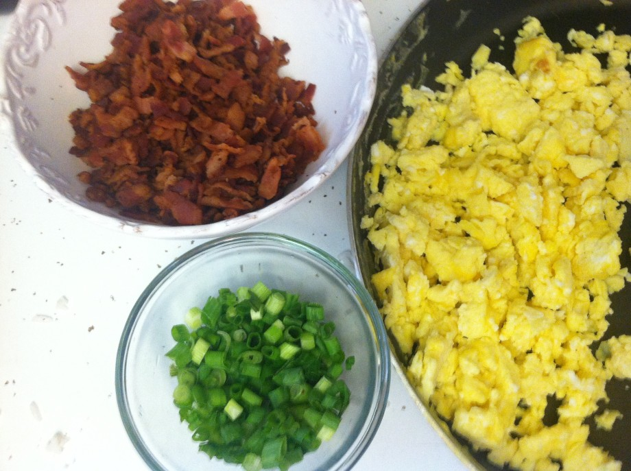 Eggs, Bacon, and Green onions for Egg Rolls